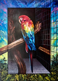 """Scarlet Blue Macaw,"" Photorealism, circle of Malcolm Morley, Chuck Close"