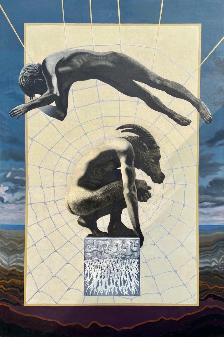"Ian Hornak Figurative Painting - ""Sorcerer Series: Beast Head, Spider Web,"" Photorealism, circle of Chuck Close"