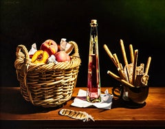 Still Life with Basket of Peaches and Feather