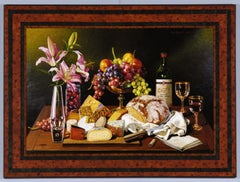 Still Life with Bread, Cheese, Grapes, and Lillies