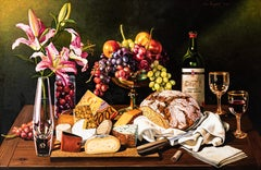 Still Life with Bread, Cheese, Grapes and Lillies, Photorealism & Hyperrealism