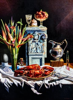 Still Life with Lobster, Helicona, & Silver Pitcher