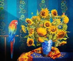 Sunflowers with Scarlet Macaw