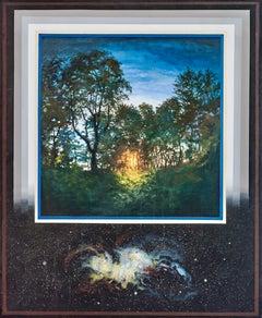 """Sunrise Through Forest, Spiral Nebula ,"" Photorealism"