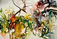 Untitled (Abstract Garden Still Life with Flowers, Plants and Pumpkins)