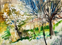 Untitled (Abstract Landscape with Flowering Tree)