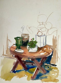 Untitled (Abstract Patio Still Life with Flowers, Plants and Pots)
