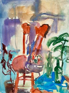 Untitled (Abstract Still Life with Chair, Flowers and Bottles)