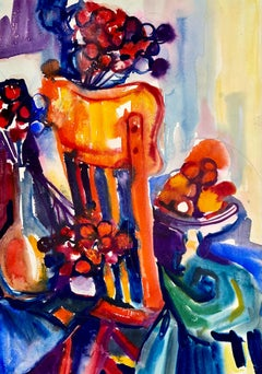 Untitled (Abstract Still Life with Chair, Flowers and Fruit)