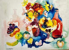 Untitled (Abstract Still Life with Flowers, Fruit and Bottle)