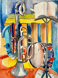 Untitled (Abstract Still Life with Music Stand, French Horn, Saxophone, Drum)