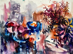 Untitled (Abstract Still Life with Table, Flowers and Fruit)