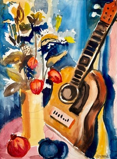 Untitled (Abstract Still Life with Flowers, Fruit and Guitar)