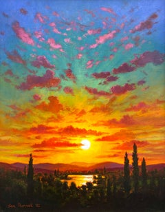 """Vertical Sunset #1,"" Photorealism, circle of Malcolm Morley, Chuck Close"
