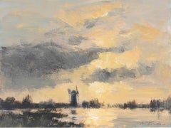 'A Norfolk Drainage Mill – Evening Light' by contemporary British artist
