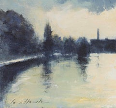 'Evening Light on the Thames at Mortlake' impressionist painting by Ian Houston