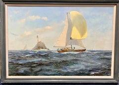English 20th century Yacht racing off the the Fast Lighthouse of Ireland.