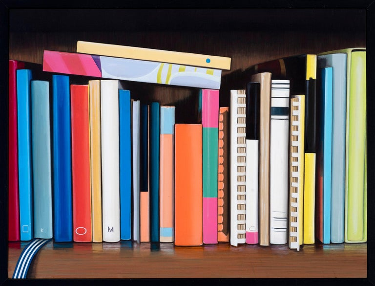 This colourful painting of a shelf of cook books is executed in oil on a wood panel and is framed.  Ian Robinson's work is concerned with obsessions and the back-stories of collections.  Working mainly in still life he portrays his personal
