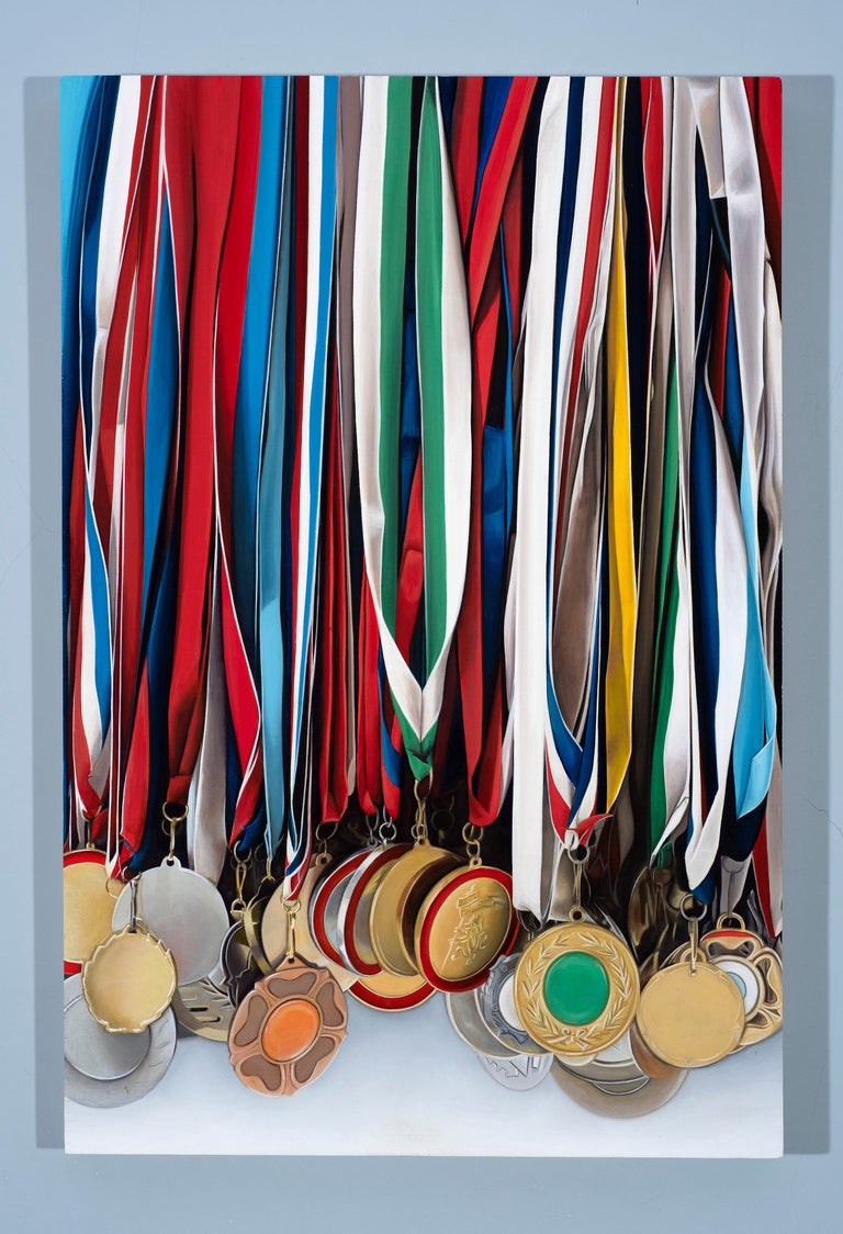 Medley: Photorealistic Painting of Medals by Ian Robinson For Sale 1