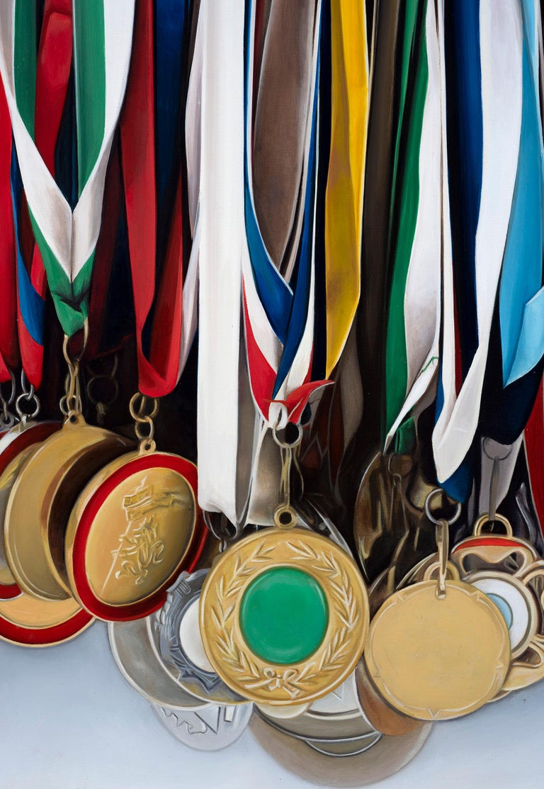 Medley: Photorealistic Painting of Medals by Ian Robinson For Sale 3