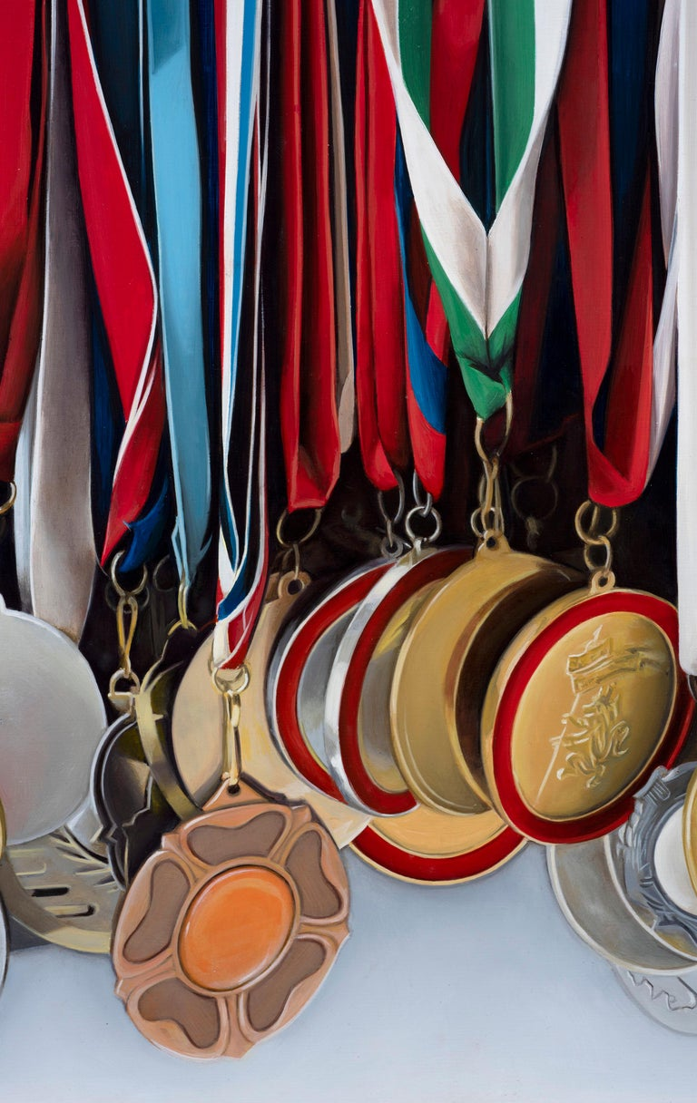 Medley: Photorealistic Painting of Medals by Ian Robinson For Sale 4