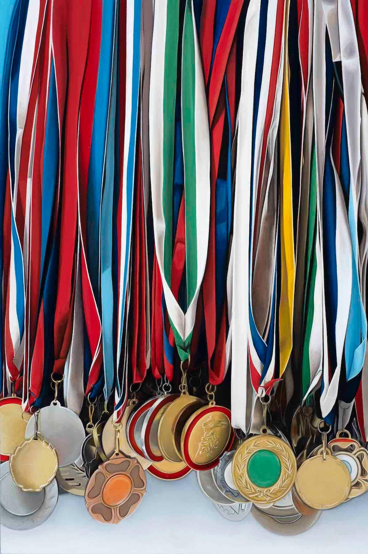 Medley: Photorealistic Painting of Medals by Ian Robinson