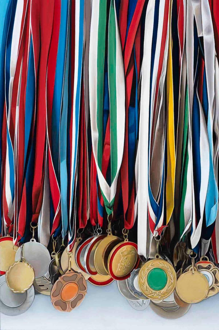This technically astounding, photorealistic and colourful painting of a rack of medals is executed in oil on a wood panel.  Ian Robinson's work is concerned with obsessions and the back-stories of collections.  Working mainly in still life he