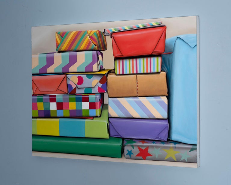 Presents Stack: Photorealistic Painting by Ian Robinson For Sale 2