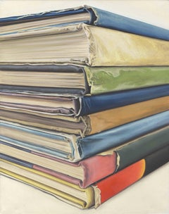 Reverspective Bookstack: a Photorealistic painting of books by Ian Robinson