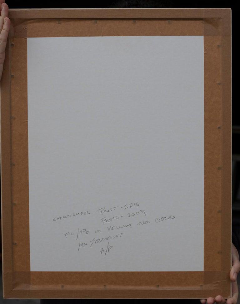 Framed Print-Carrousel-Platinum Palladium print on vellum over 24 carat gold A/P - Gray Black and White Photograph by Ian Sanderson