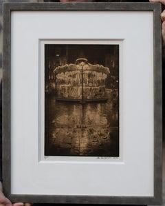 Framed Print-Carrousel-Platinum Palladium print on vellum over 24 carat gold A/P