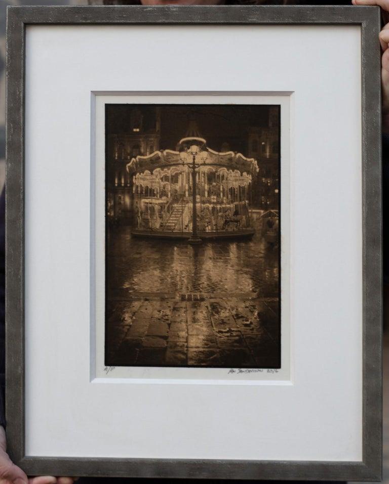 Ian Sanderson Black and White Photograph - Framed Print-Carrousel-Platinum Palladium print on vellum over 24 carat gold A/P