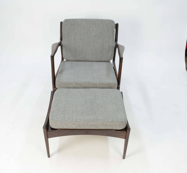 Scandinavian Modern Ib Kofod- Larsen Club Chair and Ottoman for Selig of Denmark For Sale