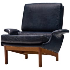 Ib Kofod-Larsen Adam Blue Leather Lounge Chair