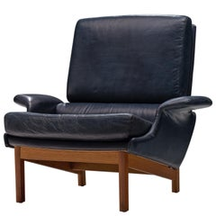 Ib Kofod-Larsen Adam Blue Leatherette Lounge Chair