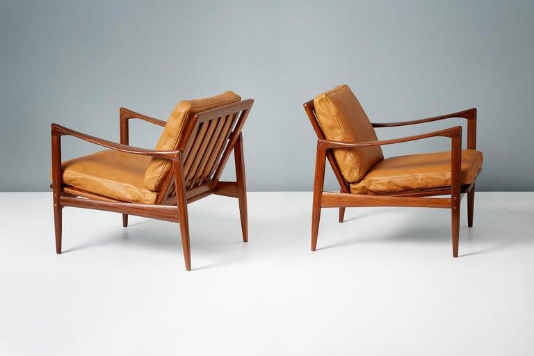 Swedish Ib Kofod-Larsen Afromosia Teak Candidate Lounge Chairs, circa 1960 For Sale