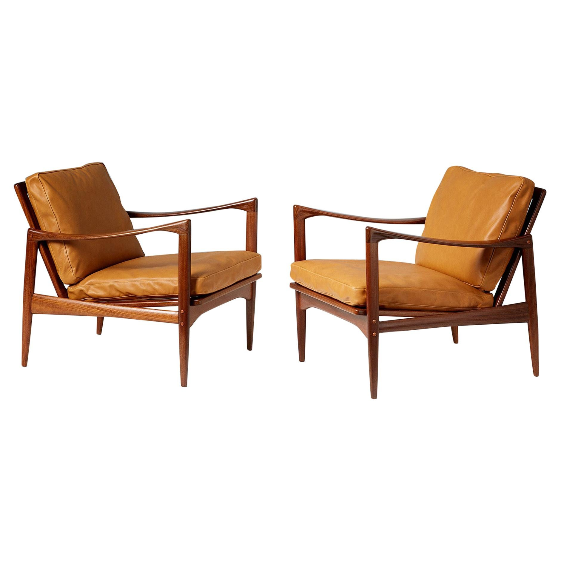 Ib Kofod-Larsen Afromosia Teak Candidate Lounge Chairs, circa 1960