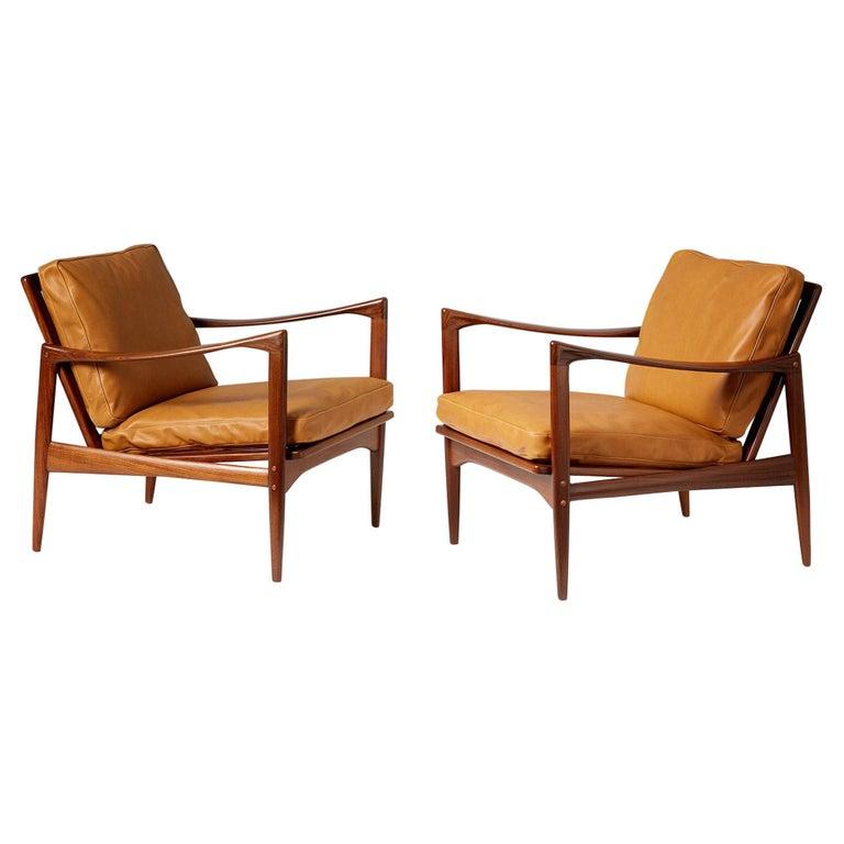 Ib Kofod-Larsen Afromosia Teak Candidate Lounge Chairs, circa 1960 For Sale