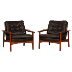 Ib Kofod-Larsen Attributed Danish Modern Teak Lounge Chairs with Black Leather