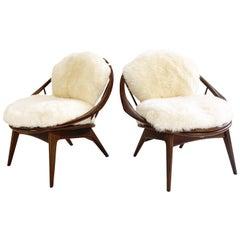 Ib Kofod-Larsen Bentwood Lounge Chairs with Brazilian Sheepskin Cushions
