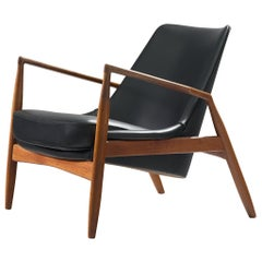 Ib Kofod-Larsen Black Leather Seal Chair in Teak