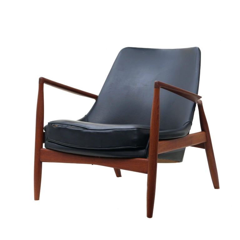 Swedish Ib Kofod-Larsen Black Leather Seal Easy Lounge Chair by OPE in Sweden For Sale
