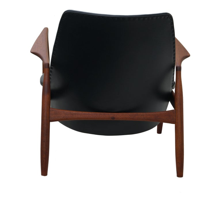Wood Ib Kofod-Larsen Black Leather Seal Easy Lounge Chair by OPE in Sweden For Sale