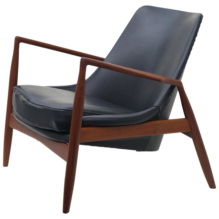 Ib Kofod-Larsen Black Leather Seal Easy Lounge Chair by OPE in Sweden For Sale