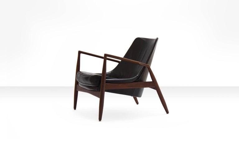 Ib Kofod-Larsen Black Seal Lounge Chair, Sweden, 1950s At