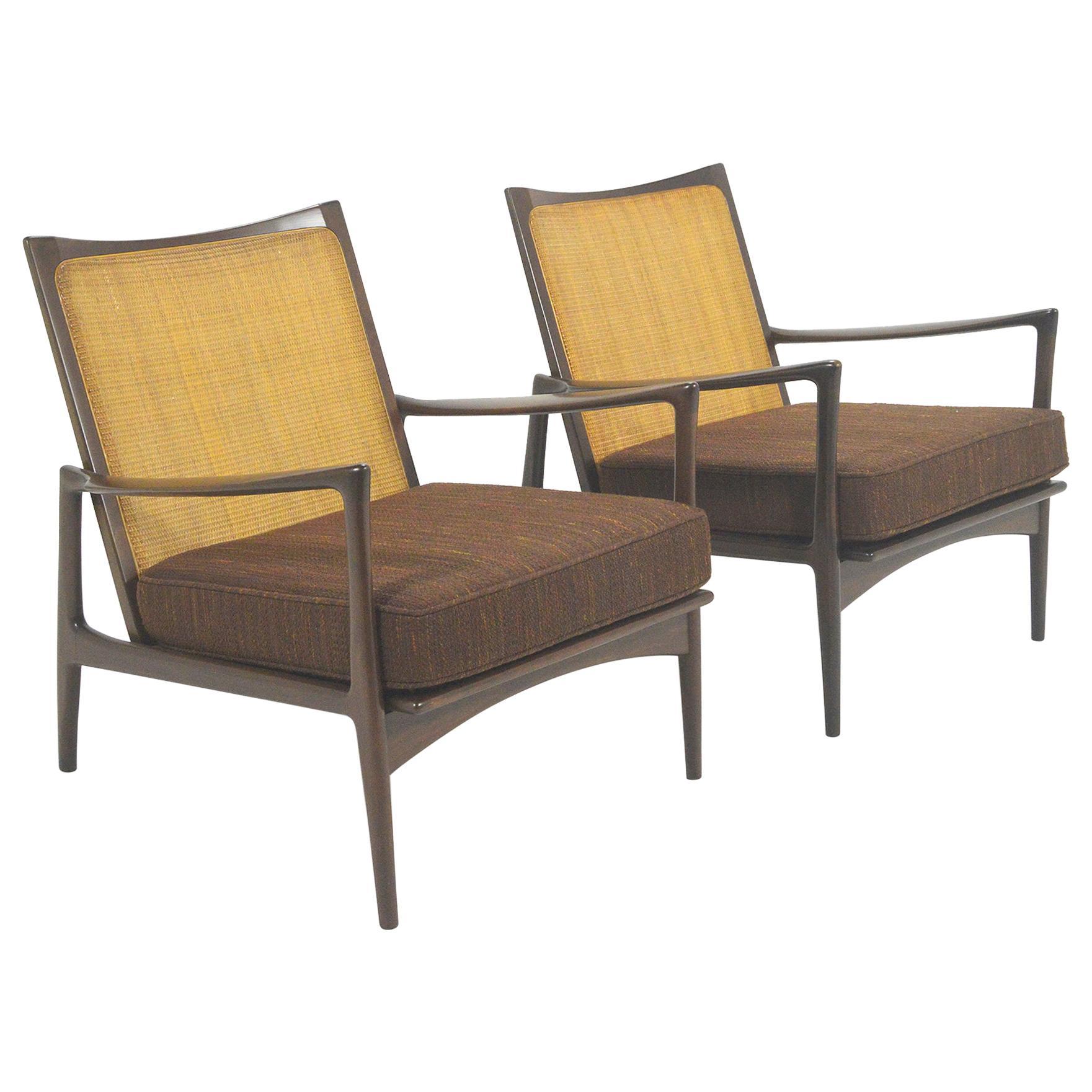 Ib Kofod-Larsen Cane-Back Lounge Chair Pair