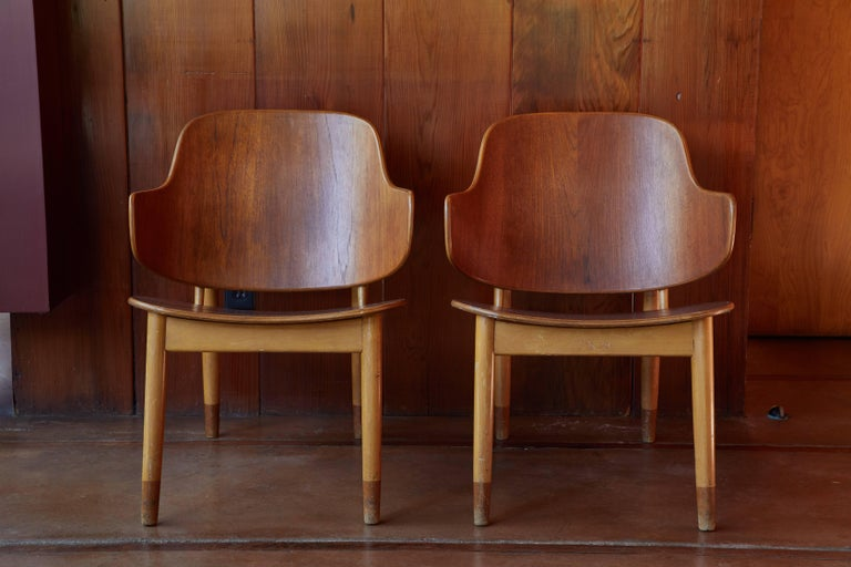 Ib Kofod-Larsen Chairs for Christiansen & Larsen. Designed in the early 1950s by Kofod Larsen and manufactured by Christensen & Larsen A/S in Denmark. A quintessentially clean and ultra refined example of the Danish Modernist aesthetic at its very