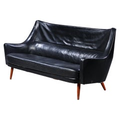 Ib Kofod Larsen Curved Back Sofa Black Leather, 1954