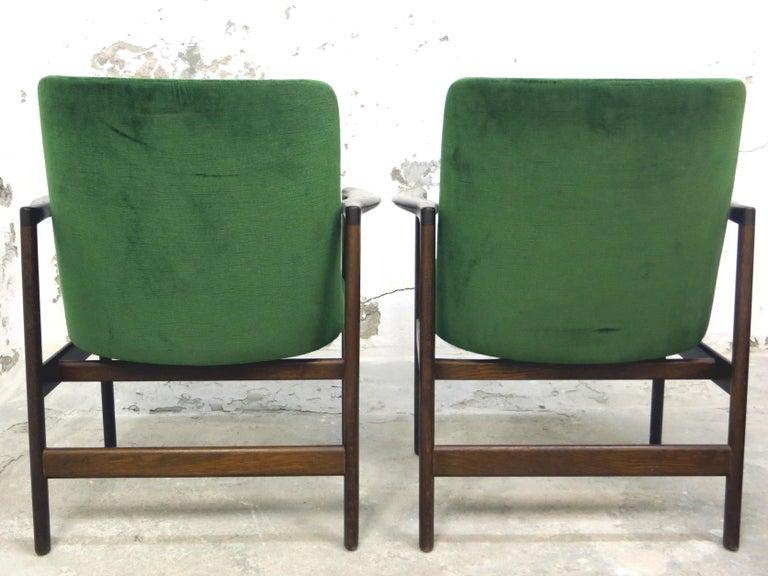 Ib Kofod-Larsen Danish Design Armchair Lounge Chairs in Green Velvet, Set of 6   5