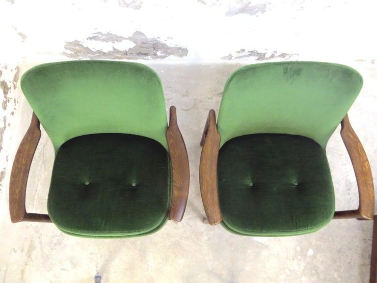 Ib Kofod-Larsen Dänisches Design Sessel Loungesessel aus Grünem Samt, Set von 6   12